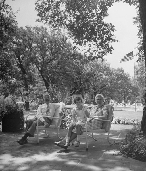Otto and Dorothy Schnering with Barbara McFarland at Curtiss Farm Terrace, 1951