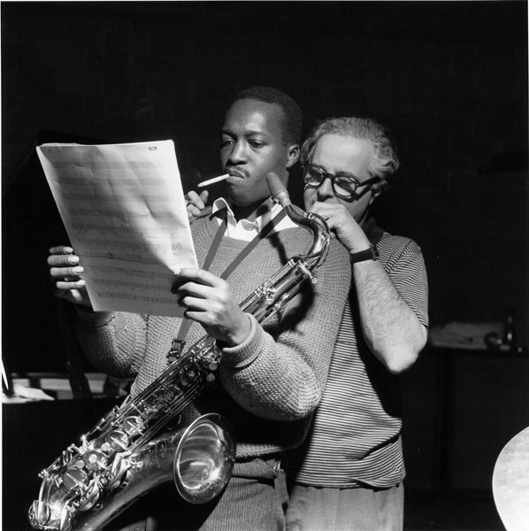 """Hank Mobley and Alfred Lion at Mobley's """"Soul Station"""" Session, 1960"""