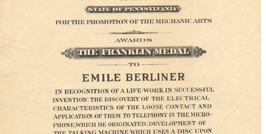 Emile Berliner's Award Certificate for the Franklin Medal