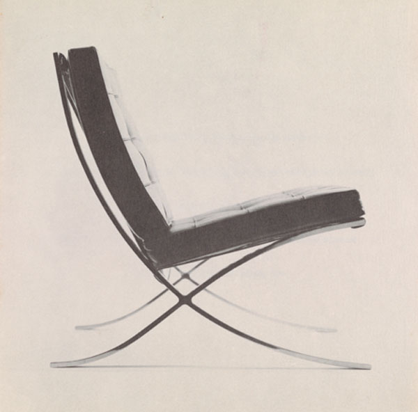 Knoll Associates, Inc. Announcement Featuring a Chair Designed by Mies Van der Rohe, 1960s