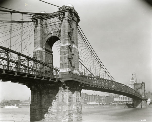View of the Covington and Cincinnati Bridge, in the late 1930s or early 1940s