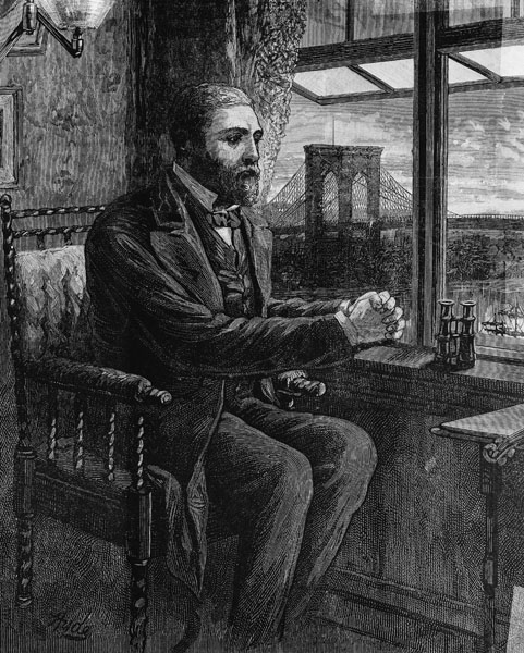 Washington Roebling in his Brooklyn Heights Office with a View of the Brooklyn Bridge, 1883