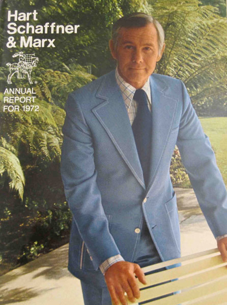 Hart, Schaffner & Marx Annual Report Cover with Johnny Carson, 1972