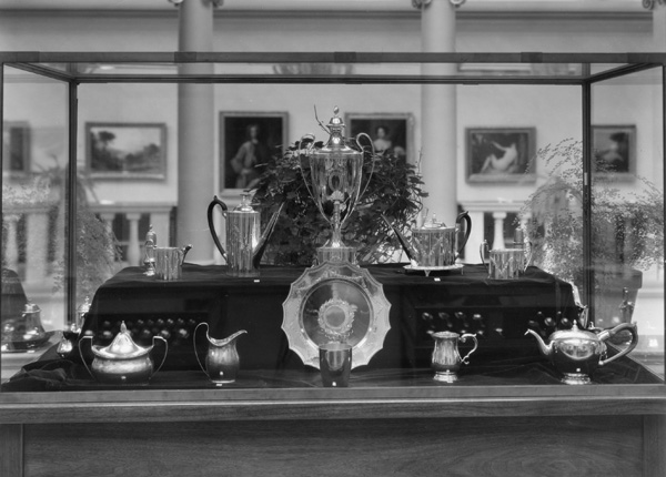 Early American silver from the Gebelein Collection on display in an exhibition at the Currier Museum of Art, 1937