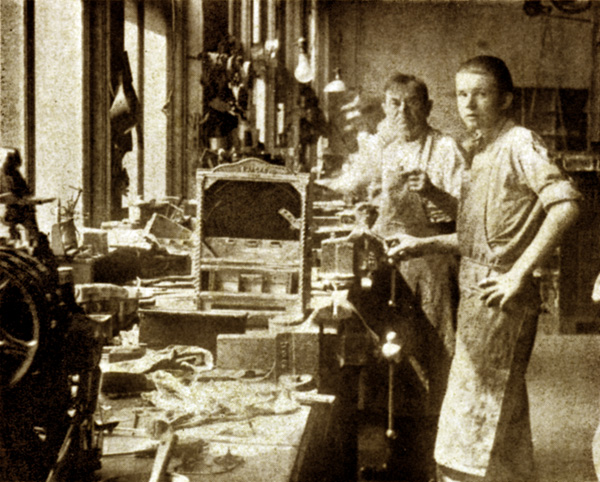 Charles Fey and his Longtime Foreman Albert Quast on the Factory Floor