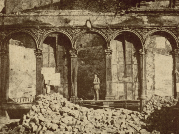 Charles Fey surveys the damage at Chas. Fey & Co. after the earthquake and fire of 1906