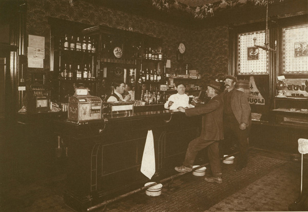 Fey Draw Poker machines on the counter of a San Francisco saloon