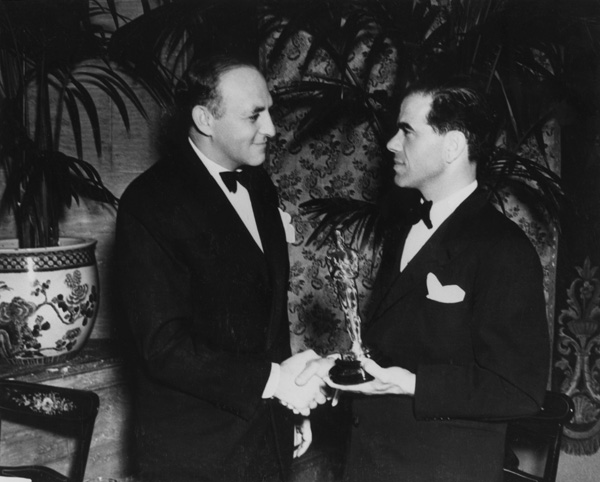 Harry Cohn and Frank Capra shortly after It Happened One Night swept the Academy Awards, 1935