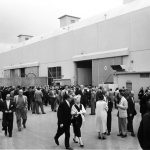 Hollywood notables gather at Columbia Stage 12 to bid farewell to Harry Cohn, 1958