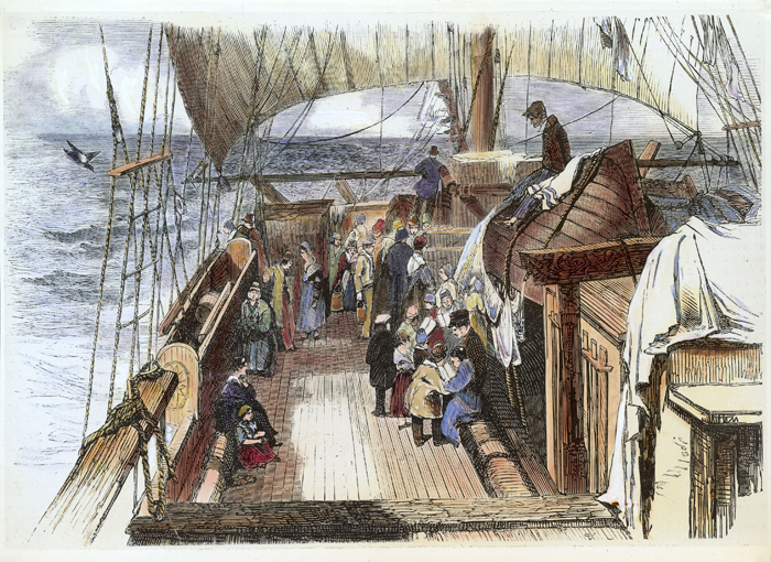 On the way to the new world - on board a German immigrant ship