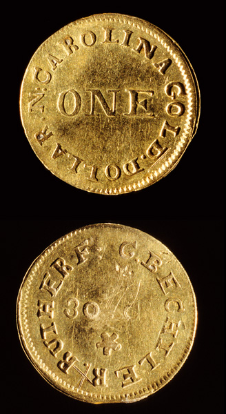 Bechtler one dollar gold coin, obverse and reverse, ca. 1830