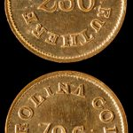 Bechtler $2.50  gold coin, obverse and reverse, ca. 1835