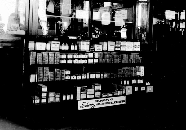 Display of Schering Corporation products in an American shop, ca. 1935