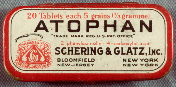 A box of Atophan marketed by Schering & Glatz in the United States, 1929