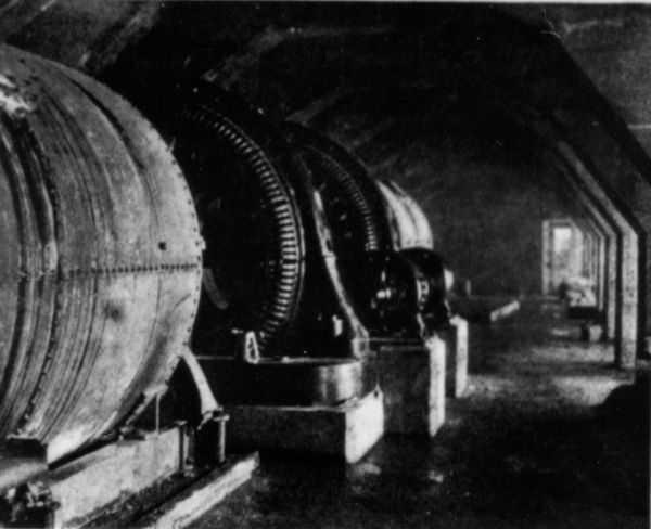 Electricity-generating turbines inside Bloede's Dam on the Patapsco River near Ilchester, MD