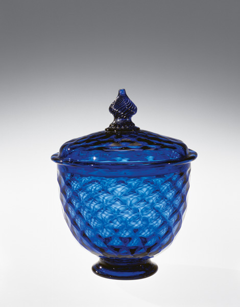 Sugar bowl and cover, attributed to Manheim, Pennsylvania, glassworks of Henry William Stiegel, late 18th century