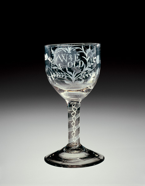 Goblet, Manheim, Pennsylvania, American Flint Glass Manufactory of Henry William Stiegel, engraved by Lazarus Isaacs, 1773 or 1774