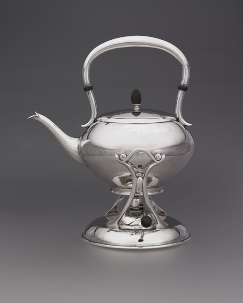George Christian Gebelein, sterling silver tea kettle on stand, 1910-30