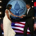 President Barack Obama dances with First Lady Michelle Obama at the Neighborhood Inaugural Ball in Washington, DC, on January 20, 2009.