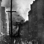 The John E. Hurst & Company building during the Great Baltimore Fire, February 7, 1904