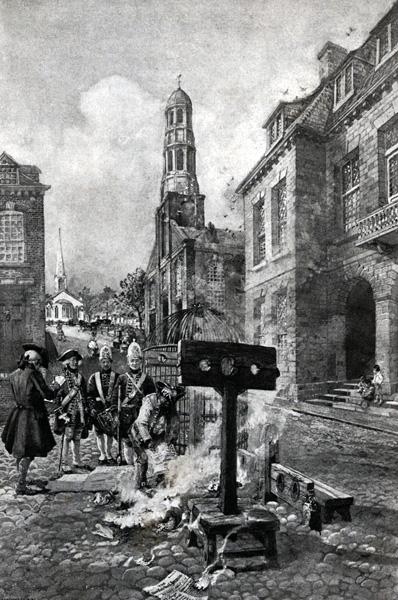 "The Burning of John Peter Zenger's ""Weekly Journal"" on Wall Street"