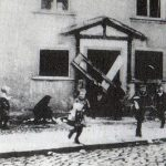 November pogrom: Children carry Torah scrolls from the synagogue to a stake, Stadtlengsfeld, November 10, 1938