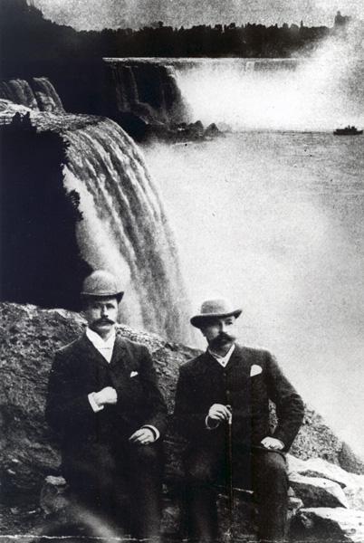 Alexander Schneider of Degussa and Jacob Hasslacher at Niagara Falls in 1892