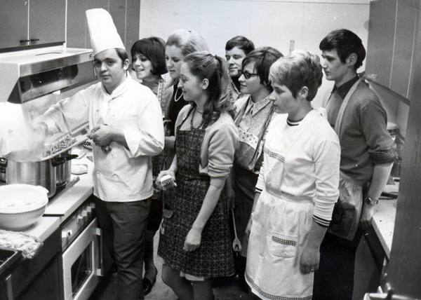 Walter Staib leading a cooking class, Pforzheim, 1968