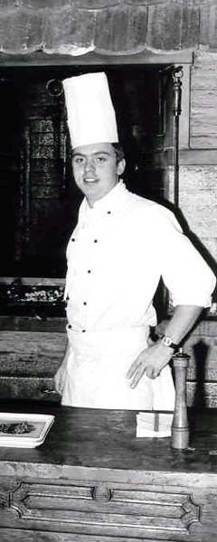 Walter Staib as chef de grille at the Chesery ski resort and hotel in Gstaad, Switzerland, 1965