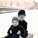 Walter Staib sledding with his younger brother Peter, Pforzheim, 1951