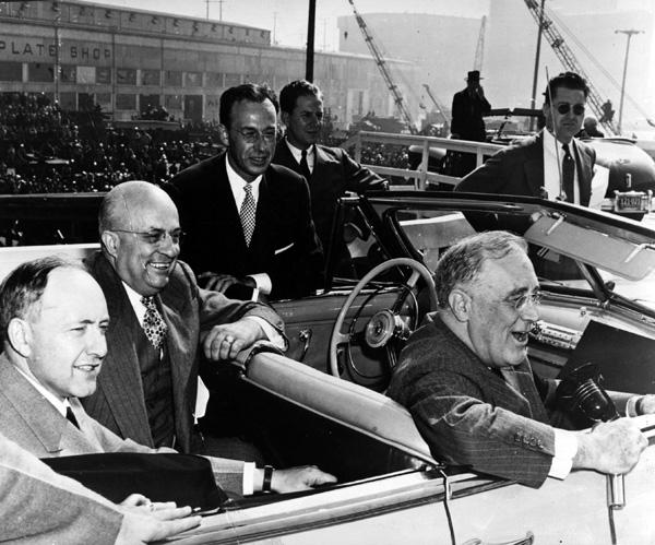 President Franklin D. Roosevelt at a West Coast Shipyard