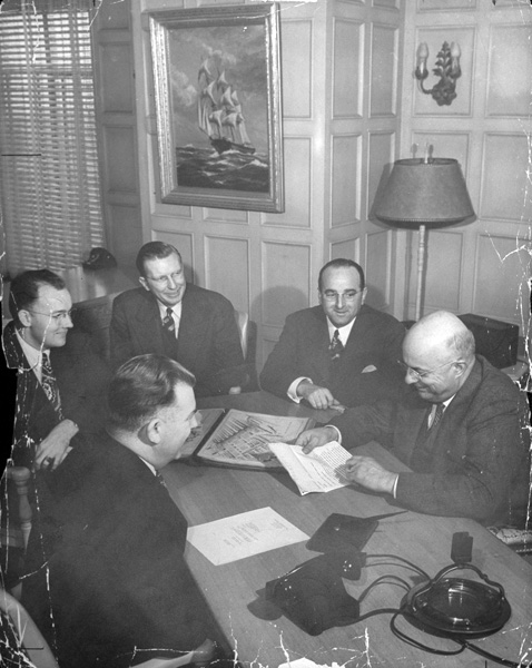 Henry J. Kaiser with business associate Charles F. Calhoun, 1943