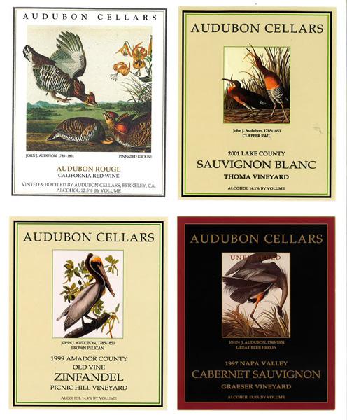 Audubon Cellars wine series labels