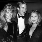 Sue Mengers with Farrah Fawcett and Ryan O'Neal at party for Paloma Picasso at Studio 54, 1981