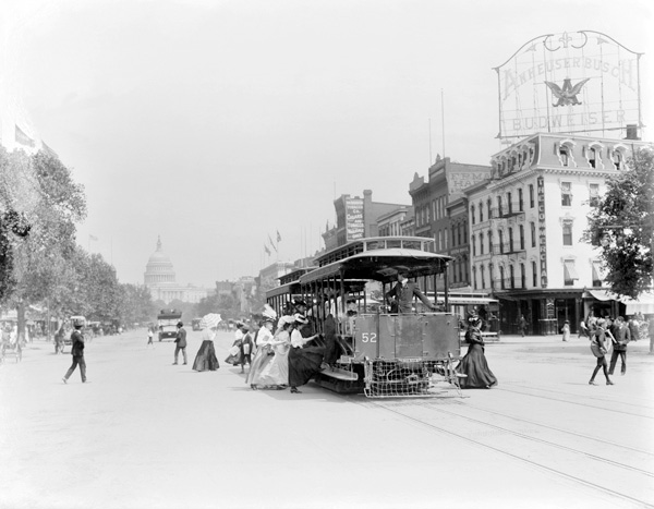 A view down Pennsylvania Avenue toward the U.S. Capitol in Washington, DC, ca. 1910.
