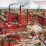 A vintage postcard offering an aerial view of the Anheuser-Busch brewing plant in St. Louis, 1910.