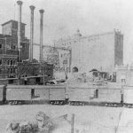 Panoramic view of the principal buildings of the Anheuser-Busch brewing plant in St. Louis, ca. 1881.