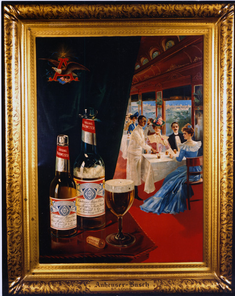 Bottles of Budweiser in a scene from a railroad restaurant car, 1904