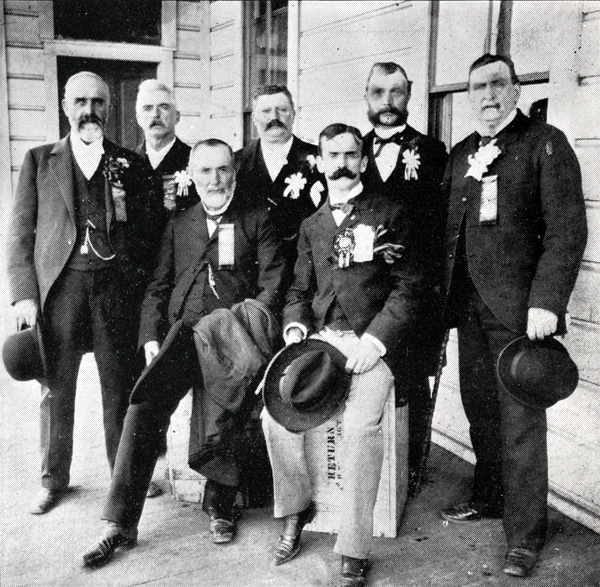 The leaders of the San Francisco Butchers' Board of Trade including Henry Miller, 1896