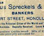 Spreckels bank in Hawaii advertisement, 1899