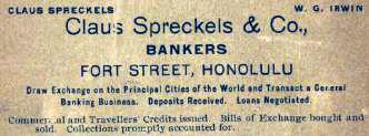 Spreckels bank in Hawaii advertisement, 1899