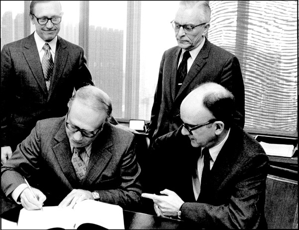 The signing with Equitable for the formation of Equimatics, 1971