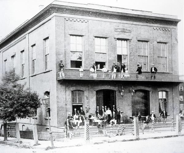 Deutscher Club (German Club) at the northwest corner of 6th & Hudson Sts., Hoboken, NJ, ca. 1860s