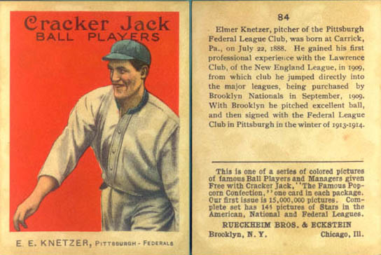 Cracker Jack baseball card, 1914